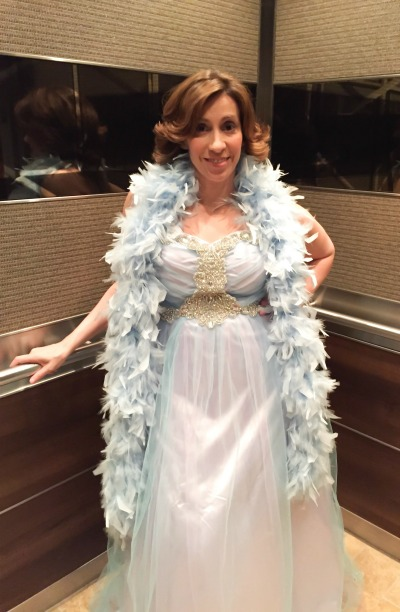 "Decked out in my Elsa prom dress to cohost ""The Wheel of Romance"" event. Pictured: YA Author Kami Garcia"