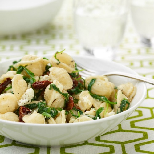 Recipe: Orecchiette With Mixed Greens And Goat Cheese